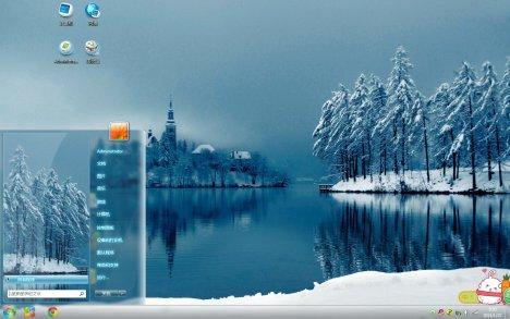 湖边雪景Win10主题下载