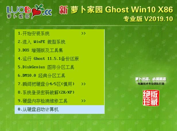 新萝卜家园win10 32位ghost专业版v2019