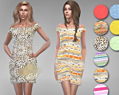 模拟人生4女性露肩的彩色连衣裙MOD